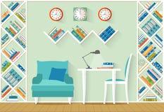 Binnenland met meubilair, planken in vlakke stijl Stock Foto's
