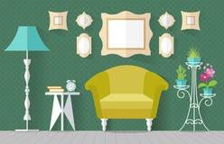 Binnenland met meubilair Vector illustratie Royalty-vrije Stock Afbeelding