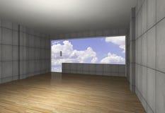 Binnenland met naakte concrete muur en houten vloer royalty-vrije illustratie