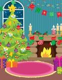 Binnenland met Open haard en Kerstboom Stock Foto's