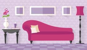 Binnenland met roze laag in vlakke stijl Royalty-vrije Stock Foto