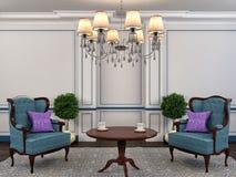 Binnenland met stoel en installatie 3D Illustratie Stock Afbeelding