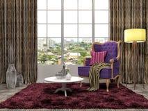 Binnenland met stoel en installatie 3D Illustratie Stock Foto's