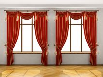 Binnenland met twee grote vensters Royalty-vrije Stock Afbeelding
