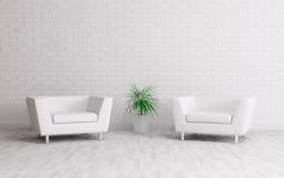 Binnenland met twee leunstoelen Stock Afbeelding