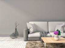 Binnenland met witte bank 3D Illustratie Royalty-vrije Stock Foto