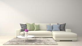 Binnenland met witte bank 3D Illustratie Stock Afbeelding