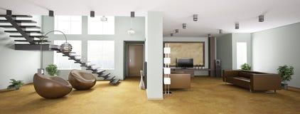 Binnenland van 3d flatpanorama royalty-vrije illustratie