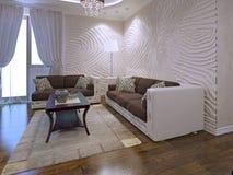Binnenland van art decozitkamer met golvende muren Royalty-vrije Stock Foto