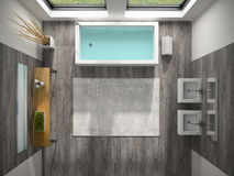 Binnenland van badkamers met het overzeese mening 3D teruggeven Stock Foto