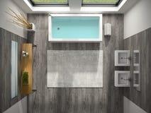 Binnenland van badkamers met het overzeese mening 3D teruggeven Royalty-vrije Stock Foto's