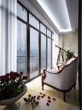 Binnenland van balkon met leunstoelen en kleine lijst Royalty-vrije Stock Foto's