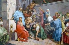 Binnenland van Barbara Church in Pochaev Lavra, het schilderen stock afbeeldingen