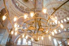 Binnenland van beroemde Blauwe moskee in Istanboel, Turkije stock fotografie