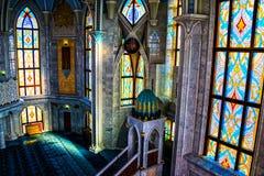 Binnenland van beroemde Qol Sharif Mosque in Kazan, Rusland royalty-vrije stock afbeeldingen