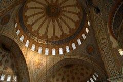 Binnenland van Blauwe Moskee, Istanboel Turkije Stock Fotografie