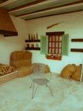 binnenland van buitenhuis in retro stijl Royalty-vrije Stock Fotografie