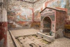 Binnenland van Casa-della Fontana Piccola, Pompei, Italië Royalty-vrije Stock Afbeeldingen