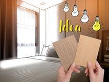 Binnenland van comfortabele slaapkamer in modern ontwerp lage verlichting en Lens royalty-vrije stock fotografie