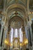 Binnenland van de basiliek van Notre Dame de Fourviere, Lyon Royalty-vrije Stock Afbeelding