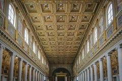 Binnenland van de Basiliek van Santa Maria Maggiore in Rome stock fotografie