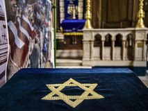 Binnenland van de belangrijkste Synagoge in Sofia, Bulgarije stock afbeelding