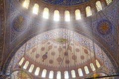 Binnenland van de Blauw Moskee/Istanboel, Turkije Royalty-vrije Stock Foto