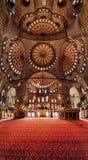 Binnenland van de Blauwe Moskee (Moskee Sultanahmet) Stock Fotografie