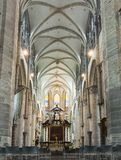 Binnenland van de Kathedraal van Heilige Bavo ` s, Mijnheer, België stock afbeeldingen
