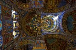Binnenland van de Kathedraal van de Verrijzenis van Christus in Heilige Petersburg, Rusland Kerk van de Verlosser op Bloed royalty-vrije stock fotografie