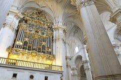 Binnenland van de kathedraal van Granada, Spanje Stock Foto's