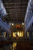 Binnenland van de kerk van Heilige Dimitrios in Thessaloniki royalty-vrije stock foto