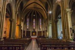 Binnenland van de kerk van Heilige Girons Ariege Frankrijk stock foto