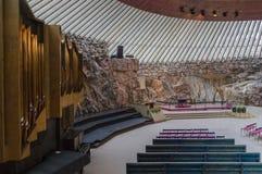 Binnenland van de Kerk in Helsinki stock afbeelding