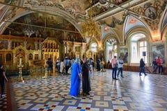 Binnenland van de Kerk van St Sergius Drievuldigheid Lavra van St Sergius, Sergiev Posad, Rusland Royalty-vrije Stock Afbeeldingen