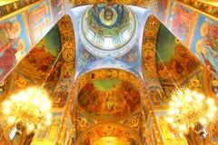 Binnenland van de Kerk van de Verlosser op Gemorst Bloed in Heilige P Royalty-vrije Stock Fotografie