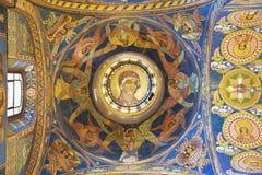 Binnenland van de Kerk van de Verlosser op Gemorst Bloed in St Petersburg, Rusland Stock Fotografie
