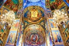 Binnenland van de kerk van de Verlosser op Gemorst Bloed, St. Petersburg Rusland Stock Afbeeldingen
