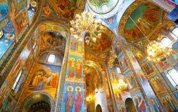Binnenland van de Kerk van de Verlosser op Gemorst Bloed in St Petersburg, Rusland Stock Afbeelding