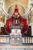 Binnenland van de kerk van Heilige Maria in Morcote op Zwitserland Stock Foto