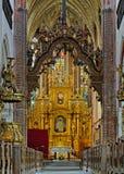 Binnenland van de Kerk van St. Jacob in Torun Royalty-vrije Stock Afbeeldingen