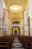 Binnenland van de Kerk van Ta Pinu op Gozo, Malta Royalty-vrije Stock Foto