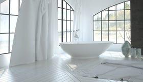 Binnenland van de luxe het witte badkamers Royalty-vrije Stock Foto