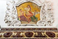 Binnenland van de metro post Kievskaya in Moskou, Rusland Royalty-vrije Stock Fotografie