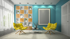Binnenland van de moderne 3D illustratie van de ontwerpruimte Stock Foto
