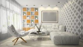 Binnenland van de moderne 3D illustratie van de ontwerpruimte Royalty-vrije Stock Foto's