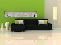 Binnenland van de moderne ruimte, groene muur, zwarte bank Royalty-vrije Stock Foto's