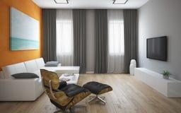 Binnenland van de moderne zolder met oranje muur Stock Foto's