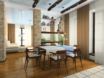 Binnenland van de modieuze flat Royalty-vrije Stock Afbeelding