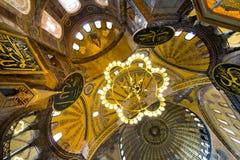 Binnenland van de Moskee van Hagia Sophia, Istanboel stock afbeelding